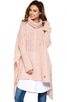 Moherowy sweter golf oversize jak ponczo - Różowy
