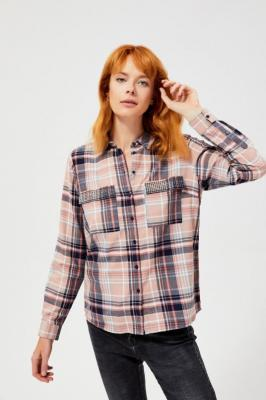 Koszula w kratę z cekinami przy kieszonkach