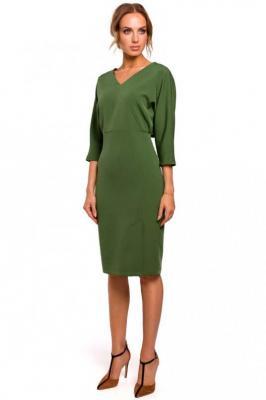Zielona Sukienka Oversize z Ołówkowym Dołem