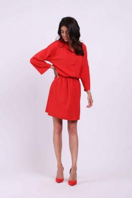 Czerwona Krótka Rozkloszowana Koszulowa Sukienka w Print