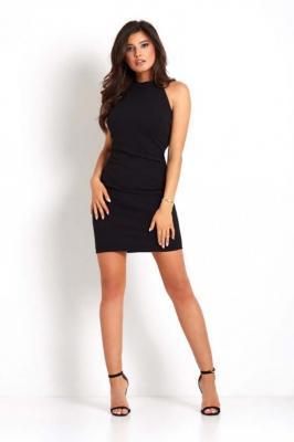 Czarna Ołówkowa Mini Sukienka z Holterem