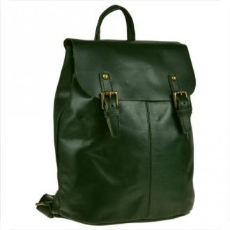 Skórzany plecak zielony z klapą, skóra cielęca najwyższej