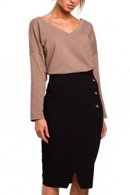Elegancka ołówkowa spódnica z ozdobnymi guzikami