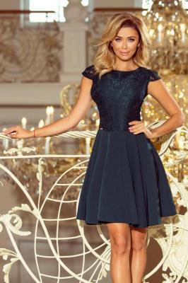 Elegancka rozkloszowana sukienka z koronkową górą