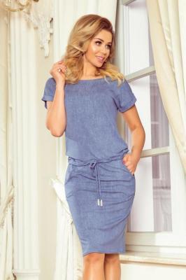 Sportowa sukienka z krótkim rękawkiem - Niebieski