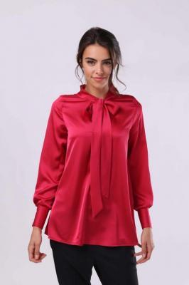 Ciemno Różowa Elegancka Bluzka z Wiązaną pod Szyją Szarfą