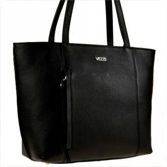 Torebka skórzana shopper czarna vezze na ramię