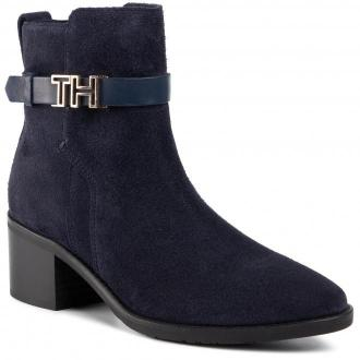 Botki TOMMY HILFIGER - Th Hardware Leather Suede Bootie FW0FW04285 Midnight 403