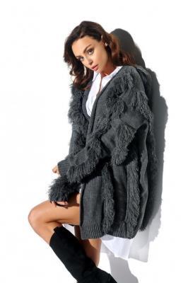 Gruby sweter kardigan jak płaszcz z frędzlami