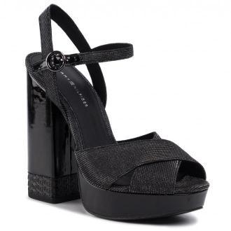 Sandały TOMMY HILFIGER - Sparkle High Heel Sandal FW0FW04579  Gunmetal 0GQ