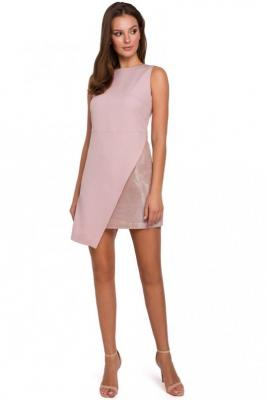 Różowa Wieczorowa Asymetryczna Sukienka Mini