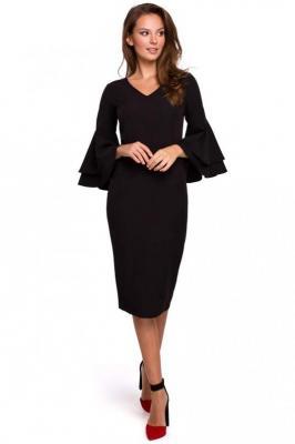 Wizytowo-Koktajlowa Sukienka w Czarnym Kolorze