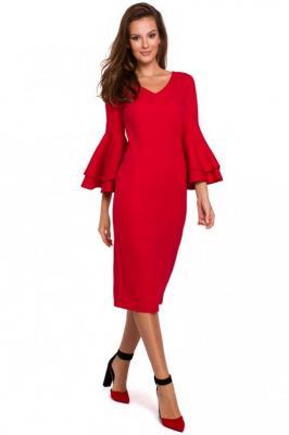 Wizytowo-Koktajlowa Sukienka w Czerwonym Kolorze