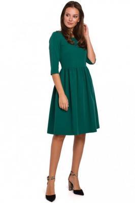 Zielona Rozkloszowana Sukienka z Rękawem za Łokcie