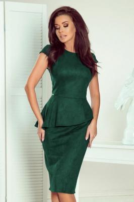 Elegancka ołówkowa zamszowa sukienka z baskinką