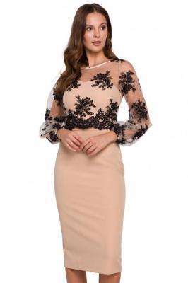 Wieczorowa ekskluzywna ołówkowa sukienka z koronką