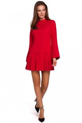 Czerwona Sukienka z Obniżoną Talią z Półgolfem