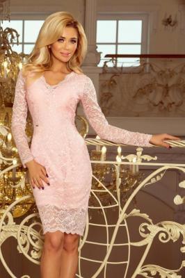 Elegancka koktajlowa koronkowa sukienka z dekoltem