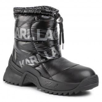 Botki KARL LAGERFELD - Snow Mid Ankle KL61550 Black Coated Twill