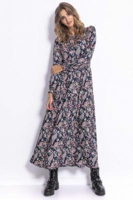 Zwiewna Długa Sukienka w Orientalny Wzór