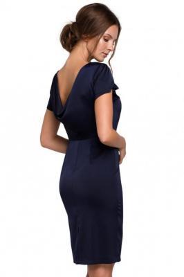 Piękna elegancka sukienka z efektownym dekoltem na plecach - Granatowy