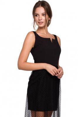 Wieczorowa sukienka maxi z transparentnym dołem