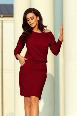Dresowa sportowa sukienka z kieszeniami i dekoltem - Czerwony