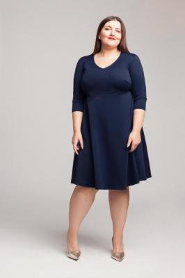 SIENNA NAVY rozkloszowana sukienka plus size : size - 52/54