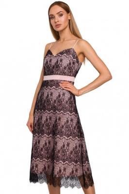 Zachwycająca trapezowa koronkowa sukienka na ramiączkach