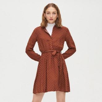 Cropp - Sukienka koszulowa - Brązowy