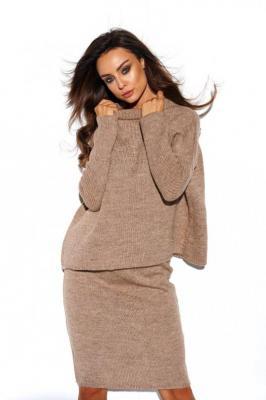 Komplet sweter półgolf i spódnica capucino