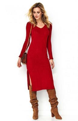 Czerwona Swetrowa Midi Sukienka z Rozcięciami na Bokach