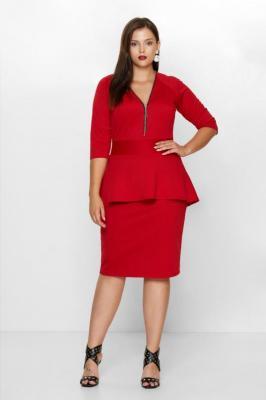HOLLY RED elegancka sukienka plus size z baskinką : Rozmiar - 52/54