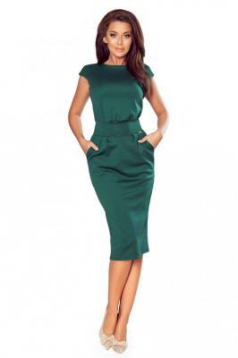 Zielona Sukienka Elegancka Midi z Zaznaczoną Talią