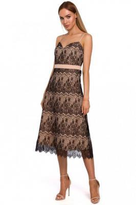 Wieczorowa Beżowa Sukienka Koronkowa na Cienkich Ramiączkach