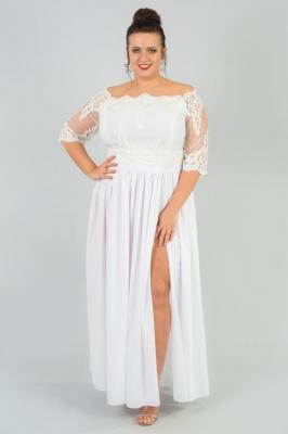 Sukienka ślubna plus size rozkloszowana ekskluzywna MARGO long ecru