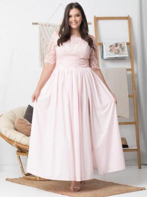 Sukienka na wesle rozkloszowana ekskluzywna MARGO long pudrowy róż