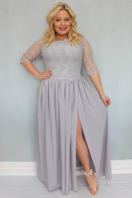 Sukienka MARGO long rozkloszowana ekskluzywna stalowa PROMOCJA