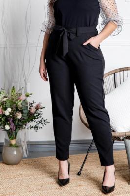 Spodnie eleganckie wiązane KOSTA czarne