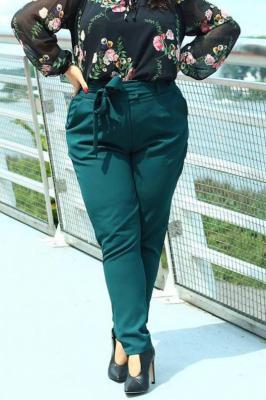 Spodnie eleganckie wiązane KOSTA butelkowa zieleń