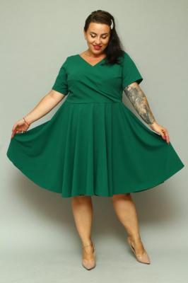 Sukienka na święta rozkloszowana JOWITA dekolt koperta gładka plus size butelkowa zieleń