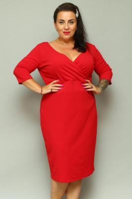 Sukienka na święta z kopertowym dekoltem BONITA dzianinowa ołówkowa czerwona