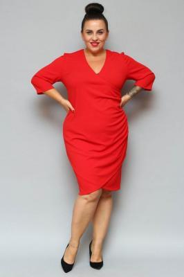 Sukienka na święta kopertowa ołówkowa ALANA drapowanie talii czerwona