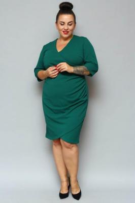 Sukienka na święta kopertowa ołówkowa ALANA drapowanie talii butelkowa zieleń