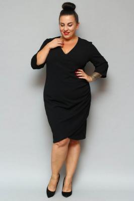 Sukienka kopertowa ołówkowa ALANA drapowanie talii czarna