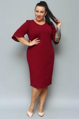 Sukienka ołówkowa TERESA flamenco elegancka plus size bordowa