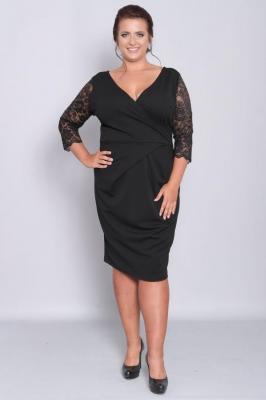 Sukienka z kopertowym dekoltem BIANKA koronkowe rękawy czarna