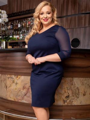 Sukienka ołówkowa duży rozmiar ANITA rękawki szyfonowe granatowa