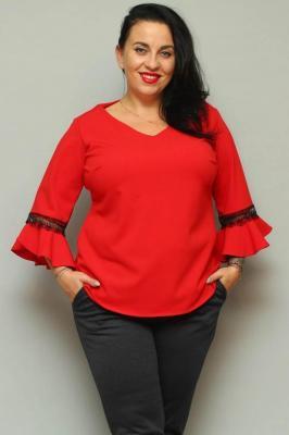 Bluzka elegancka rękaw flamenco JUDYTA czerwona