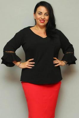 Bluzka elegancka duże rozmiary rękaw flamenco JUDYTA czarna